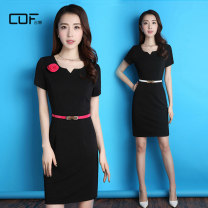 Dress Summer of 2019 black S,M,L,XL,2XL,3XL Short skirt singleton  Short sleeve commute Crew neck middle-waisted Solid color Socket other other Others 25-29 years old Type X jme Ol style Q9221-1 81% (inclusive) - 90% (inclusive) polyester fiber