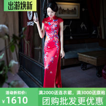 cheongsam Summer 2021 XXXL, customized, no return Red a, red B Short sleeve long cheongsam Retro High slit perform Oblique lapel Decor 25-35 years old Embroidery silk