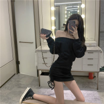 Dress Autumn 2020 black Average size singleton  Long sleeves One word collar Solid color 18-24 years old Fold, strap