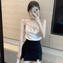 Fashion suit Summer 2020 S, M White suspender, Black Trouser skirt 18-25 years old
