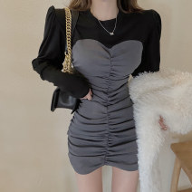 Dress Winter 2020 Khaki, grey S, M Short skirt singleton  Long sleeves commute Crew neck High waist Solid color Socket One pace skirt routine 18-24 years old Type A Splicing