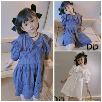 Dress White, purple female Other / other Cotton 100% Korean version Short sleeve Solid color Pure cotton (100% cotton content) Princess Dress Class A