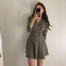 Dress Spring 2020 Dark green, black Average size Middle-skirt singleton  Long sleeves commute V-neck High waist Solid color Socket other routine Others Type A Other / other Korean version Bandage 30% and below