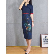 Dress Summer of 2019 navy blue 0,1,2,3,4,5 Mid length dress singleton  Short sleeve commute V-neck High waist Decor zipper One pace skirt routine Others Stitching, printing, lace up More than 95%