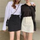 skirt Spring 2021 S,M,L White, black Short skirt commute High waist A-line skirt Solid color 18-24 years old zipper Korean version