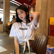 T-shirt White, black, khaki Average size Summer 2021 Short sleeve Crew neck Self cultivation have cash less than that is registered in the accounts routine commute cotton 51% (inclusive) - 70% (inclusive) 18-24 years old Korean version letter