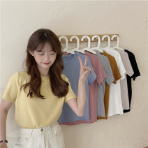 T-shirt Apricot, white, black, goose yellow, baby blue, pink, flower gray, caramel orange Average size Summer 2021 Short sleeve Crew neck Straight cylinder Regular routine commute other 51% (inclusive) - 70% (inclusive) 18-24 years old Korean version classic Solid color
