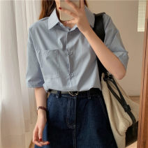 shirt Apricot, purple, blue, black, beige S,M,L Spring 2021 cotton 96% and above Short sleeve commute Regular Polo collar Single row multi button routine Solid color 18-24 years old Straight cylinder Korean version Button pure cotton