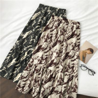 skirt Autumn 2020 Average size Grey, brown Mid length dress commute High waist A-line skirt Decor Type A 18-24 years old More than 95% printing Korean version