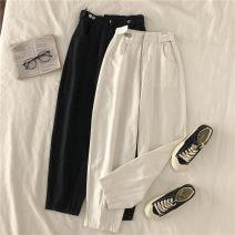 Jeans Autumn 2020 Black, white S,M,L Ninth pants High waist Haren pants routine 18-24 years old Zipper, button, multiple pockets