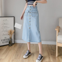 skirt Summer 2021 S,M,L,XL Light blue, dark blue longuette commute High waist A-line skirt Solid color Type A TYL1161007 More than 95% Denim other Pocket, button, zipper, stitching Korean version