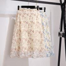 skirt Summer 2021 S,M,L,XL,2XL Light blue, light pink longuette Versatile High waist A-line skirt Decor Type A 18-24 years old Lace Ocnltiy