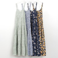 Dress Summer 2021 Average size longuette singleton  Sleeveless Sweet Crew neck middle-waisted Broken flowers Socket A-line skirt routine camisole Type A Ocnltiy Lace up, printed More than 95% other cotton Mori