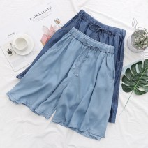 Jeans Summer 2021 Dark blue, light blue S,M,L,XL,XXL Pant High waist Wide legged trousers 18-24 years old washing Thin denim light colour Ocnltiy