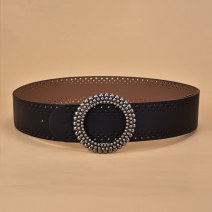 Belt / belt / chain Double skin leather Red coffee black female Waistband Versatile Single loop Youth, middle age and old age Round buckle Glossy surface 4.5cm alloy alone Cold weapon LBQ0207 Autumn of 2019