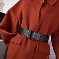 Belt / belt / chain Double skin leather Red black coffee brown apricot female Waistband Versatile Single loop Youth, middle age and old age Pin buckle Geometric pattern Glossy surface 5.6cm alloy alone Cold weapon LBQ1053 Spring 2021