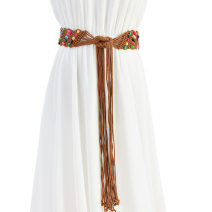 Belt / belt / chain Wax rope Brown Beige female Waistband ethnic style Single loop bow soft surface 5.5cm Woven beads Cold weapon Spring of 2019