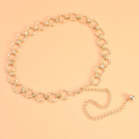 Belt / belt / chain Metal Circle - Golden Circle - Silver Oval indentation - Golden oval indentation - Silver JP circle love square female Waist chain Versatile Single loop Children: 1-6 years old, young, middle-aged and old a hook Glossy surface Glossy surface 2.5cm alloy Hollow chain Cold weapon