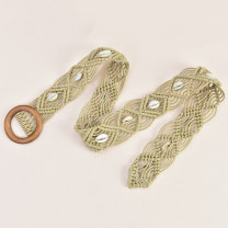 Belt / belt / chain Wax rope Khaki white female belt Versatile Single loop Children, youth, middle age and old age Pin buckle Round buckle soft surface 5.0cm weave Cold weapon LBQ0244 Spring 2020