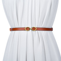 Belt / belt / chain Double skin leather Brown coffee red black white dark apricot female belt Versatile Single loop Children: 1-6 years old, young, middle-aged and old a hook other Glossy surface 1.5cm alloy Cold weapon LBQ1058 Spring 2021