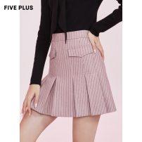 skirt Winter 2020 XS,S,M,L,XL Black 090, dark pink 899 Short skirt Versatile High waist Pleated skirt stripe Type A 25-29 years old 2RN4072440 other Five Plus
