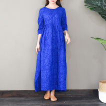 Dress Summer 2021 Sapphire blue, black, yellow S,M,L longuette singleton  elbow sleeve commute Crew neck High waist Solid color Socket Big swing routine ethnic style S377 More than 95% cotton