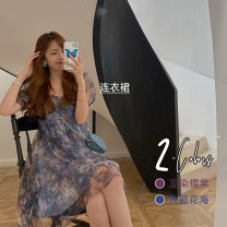 Dress Spring 2020 A sea of grey and blue flowers S,M,L Short skirt Fake two pieces Short sleeve commute square neck Elastic waist Decor Socket Big swing bishop sleeve Others 25-29 years old Type X GOKOTTA Korean version Ruffles, folds, gauze, printing 109193;109188