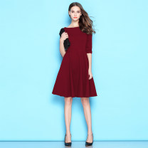 Dress Spring 2021 XS,S,M,L,XL,2XL,3XL Mid length dress singleton  Short sleeve commute One word collar High waist Solid color Socket A-line skirt routine 25-29 years old Type X Simplicity More than 95% brocade cotton
