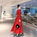 Dress Autumn 2020 Wave point S,M,L,XL,2XL longuette singleton  Long sleeves commute V-neck High waist Dot Single breasted Ruffle Skirt Type X Miao Ke Retro 71% (inclusive) - 80% (inclusive) Chiffon