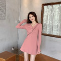 Dress Spring 2021 Black, red, mint, pink Average size Short skirt singleton  Long sleeves Sweet V-neck High waist Solid color other A-line skirt routine Under 17 Type A Button wh-3003 solar system