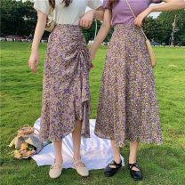 skirt Summer 2021 S,M,L Long purple, long yellow, drawstring purple, drawstring yellow Mid length dress Versatile High waist Irregular Decor Type A Under 17 RP 31% (inclusive) - 50% (inclusive) Chiffon polyester fiber
