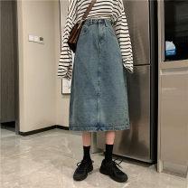 skirt Summer 2021 S,M,L,XL Light blue, dark blue, black Mid length dress Retro High waist A-line skirt Solid color Type A Under 17 Wh 71% (inclusive) - 80% (inclusive) Denim cotton