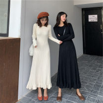 Dress Spring 2021 Black, apricot S,M,L,XL longuette singleton  Long sleeves Sweet Crew neck High waist Solid color Socket Ruffle Skirt other Others Under 17 Type H 31% (inclusive) - 50% (inclusive) knitting other solar system