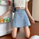 skirt Spring 2021 S,M,L Blue, white Short skirt Versatile High waist Irregular Solid color Type A Under 17 71% (inclusive) - 80% (inclusive) Denim other fold