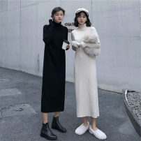 Dress Spring 2021 Black, cream apricot S,M,L,XL Mid length dress singleton  Long sleeves Sweet High collar High waist Solid color Socket other routine Others Under 17 Type H wh-4654 81% (inclusive) - 90% (inclusive) knitting polyester fiber solar system