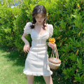 Dress solar system Short skirt Short sleeve singleton  Sweet square neck Solid color High waist Condom Under 17 puff sleeve A-line skirt Type H Other rp Summer 2020 S,M,L