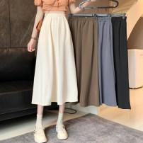 skirt Summer 2021 Average size Khaki, apricot, blue, black Mid length dress Versatile High waist A-line skirt Solid color Type A Under 17 RP other polyester fiber