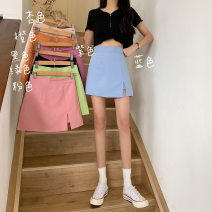 skirt Summer 2021 XS,S,M,L Apricot, purple, green, blue, black, pink, orange Short skirt Versatile High waist A-line skirt Solid color Type A Under 17 Wh 51% (inclusive) - 70% (inclusive) other other