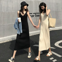 Dress Autumn 2020 Apricot, black S,M,L Mid length dress singleton  Sleeveless Sweet V-neck High waist Solid color Socket A-line skirt routine camisole Under 17 Type H rp 0.4.. 71% (inclusive) - 80% (inclusive) knitting polyester fiber solar system