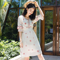 Dress Summer of 2019 Light blue, off white XS,S,M,L,XL,2XL,3XL Short skirt singleton  three quarter sleeve Sweet V-neck middle-waisted other Socket A-line skirt pagoda sleeve Others Type A 81% (inclusive) - 90% (inclusive) Chiffon Bohemia