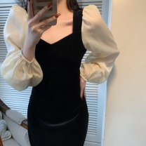 Dress Winter 2020 black S,M,L longuette singleton  Long sleeves commute square neck High waist Solid color zipper A-line skirt bishop sleeve Others 18-24 years old Type A Retro Panel, zipper 51% (inclusive) - 70% (inclusive) other cotton