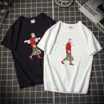 T-shirt Youth fashion [red uncle] white, [red uncle] black, [Japanese beverage] white, [Japanese beverage] black routine Others Short sleeve Crew neck easy motion Four seasons Cotton short sleeve Cotton 95% polyurethane elastic fiber (spandex) 5% Couples dress routine like a breath of fresh air 2019