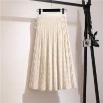 skirt Autumn of 2019 Average size Gray, black, brown, khaki, apricot Mid length dress Versatile High waist A-line skirt Solid color Type A