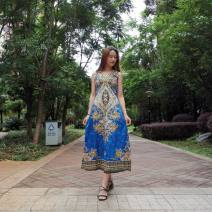 Dress Summer 2020 Purple, dark blue, blue, orange red, rose pink Average size longuette singleton  Sleeveless Sweet V-neck High waist Decor Socket A-line skirt other straps 25-29 years old Type A Yuduo Nail bead, Sequin, strap, zipper, printing More than 95% other cotton Bohemia