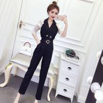 Dress Summer 2020 black S,M,L Two piece set Short sleeve commute V-neck High waist Solid color Socket other Others 18-24 years old Type A Korean version