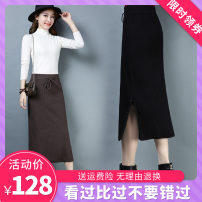 skirt Autumn of 2018 No iron, no pilling, no fading, one size fits all Black fringe, black button, light coffee button, deep coffee button longuette Versatile High waist skirt Solid color Type H 30-34 years old FH85031 51% (inclusive) - 70% (inclusive) knitting acrylic fibres
