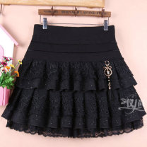 skirt Winter 2020 Size M is 2-2-1, size L is 2-2-2-3, size XL is 2-3-2-4, and size XXL is 2-4-2-5 black Short skirt Versatile High waist Cake skirt Solid color Type A 71% (inclusive) - 80% (inclusive) Lace cotton Lace, diamond, pleat, stitching, lace