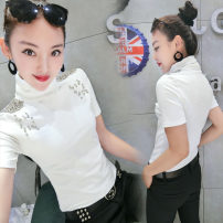 T-shirt Black, red M,L,XL,2XL Autumn of 2018 Short sleeve High collar Self cultivation Regular routine commute cotton 86% (inclusive) -95% (inclusive) 18-24 years old Korean version youth Solid color Kuwa 8376 Three dimensional decoration, epaulets, nail beads