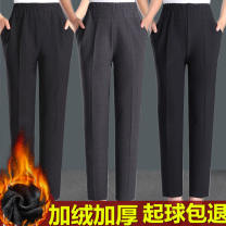 Middle aged and old women's wear Winter 2019, spring 2019, autumn 2019 leisure time trousers Straight cylinder singleton  Solid color 50-59 years old thick Medium length Diamond inlay 91% (inclusive) - 95% (inclusive) Leisure trousers