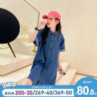 shirt blue Chuni female 110cm, 120cm, 130cm, 140cm, 150cm, 160cm, 165cm, [warm tips] don't be too big! summer Short sleeve Korean version Solid color other Lapel crew neck Cotton 95% polyester 5% AF335 Class B